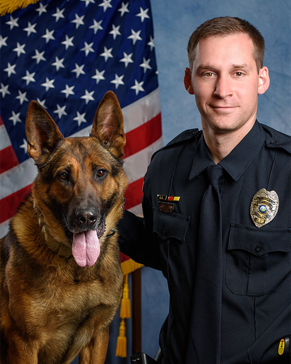 Photo of Officer Highfill and K9 Vadyr