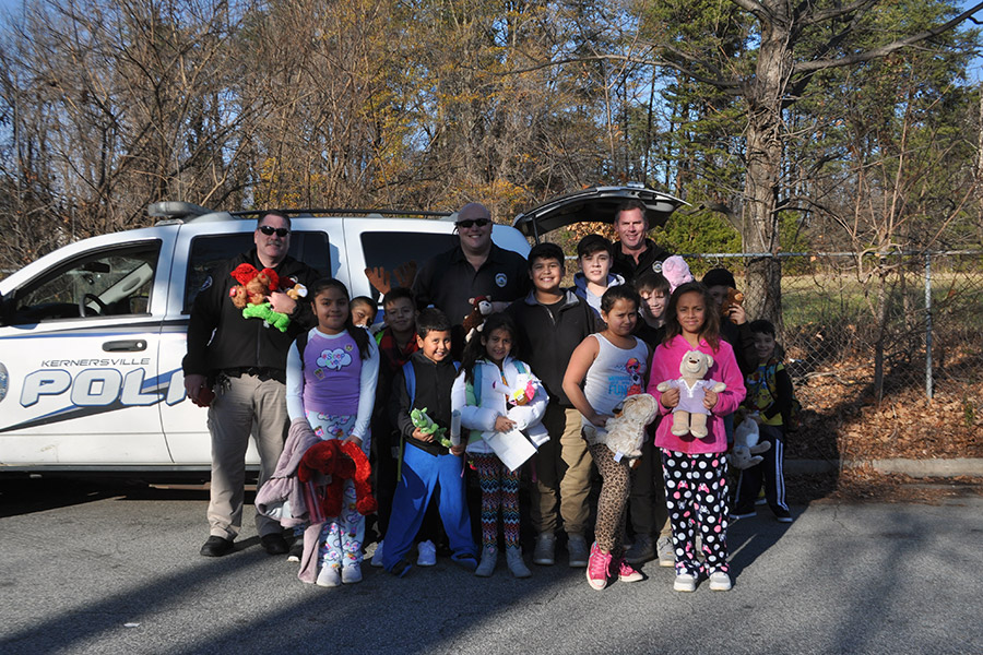 Kernersville police officers participating in civic activities